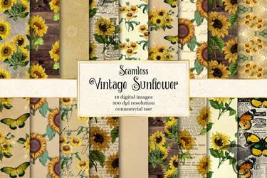 Vintage Sunflower Digital Paper