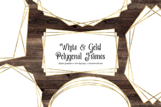 White And Gold Polygonal Frames