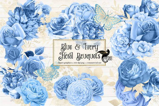 Blue And Ivory Floral Bouquets