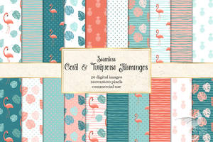 Coral And Turquoise Flamingo Digital Paper