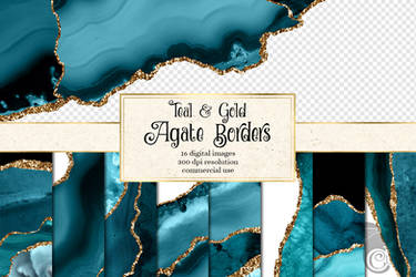 Teal And Gold Agate Borders