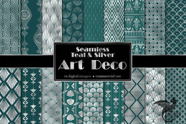 Teal And Silver Art Deco Digital Paper