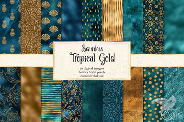 Tropical Gold Digital Paper