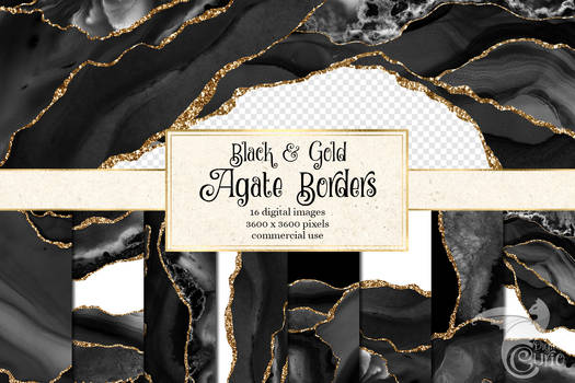 Black And Gold Agate Borders