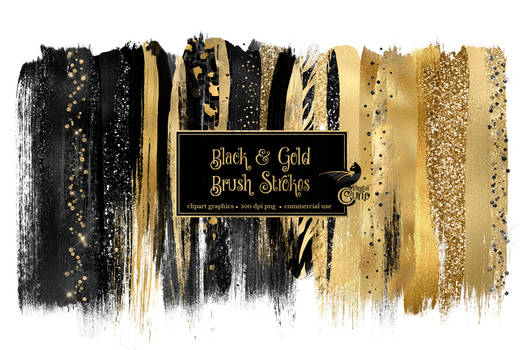 Black And Gold Brush Strokes