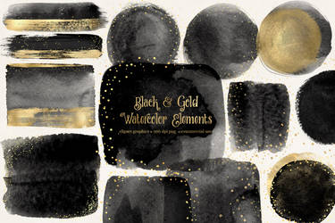 Black And Gold Watercolor Elements
