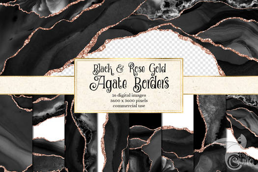 Black And Rose Gold Agate Borders