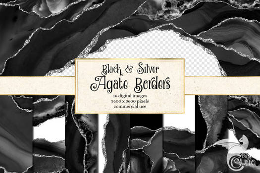 Black And Silver Agate Borders