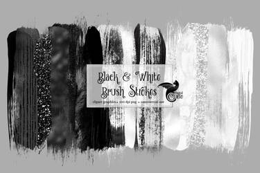 Black And White Brush Strokes Clipart