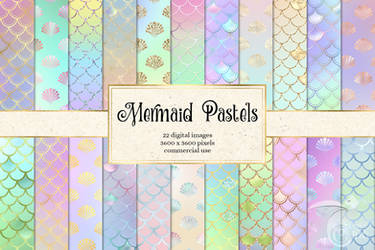 Mermaid Pastels Digital Paper