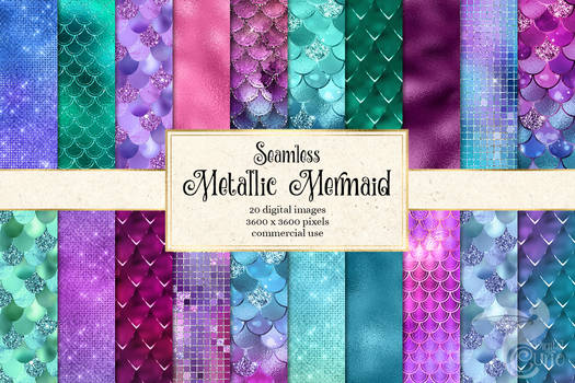 Metallic Mermaid Digital Paper