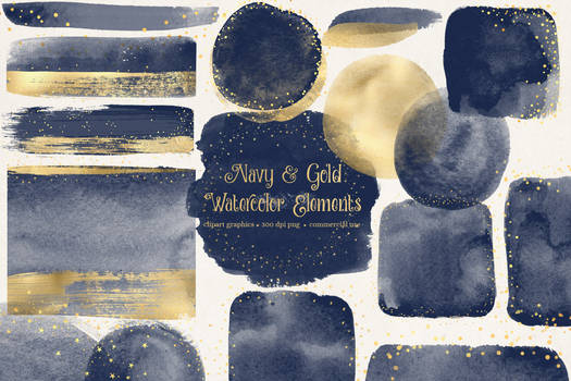 Navy And Gold Paint Elements