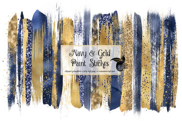 Navy And Gold Paint Strokes Clipart
