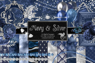 Navy And Silver Digital Scrapbook Kit