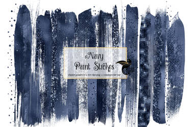Navy Paint Strokes Clipart