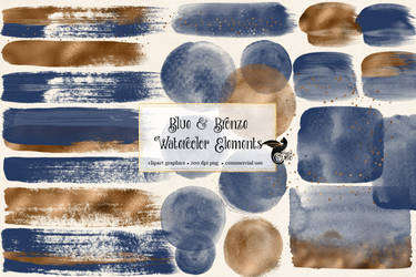 Blue And Bronze Watercolor Elements