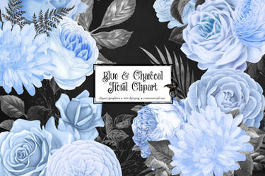 Blue And Charcoal Floral Clipart