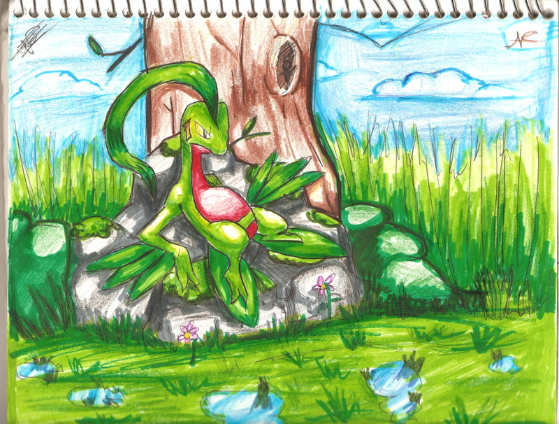 Grovyle on his rock by MusicalCombusken on DeviantArt