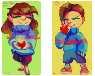 Katie And Dylan as Frisk by MusicalCombusken