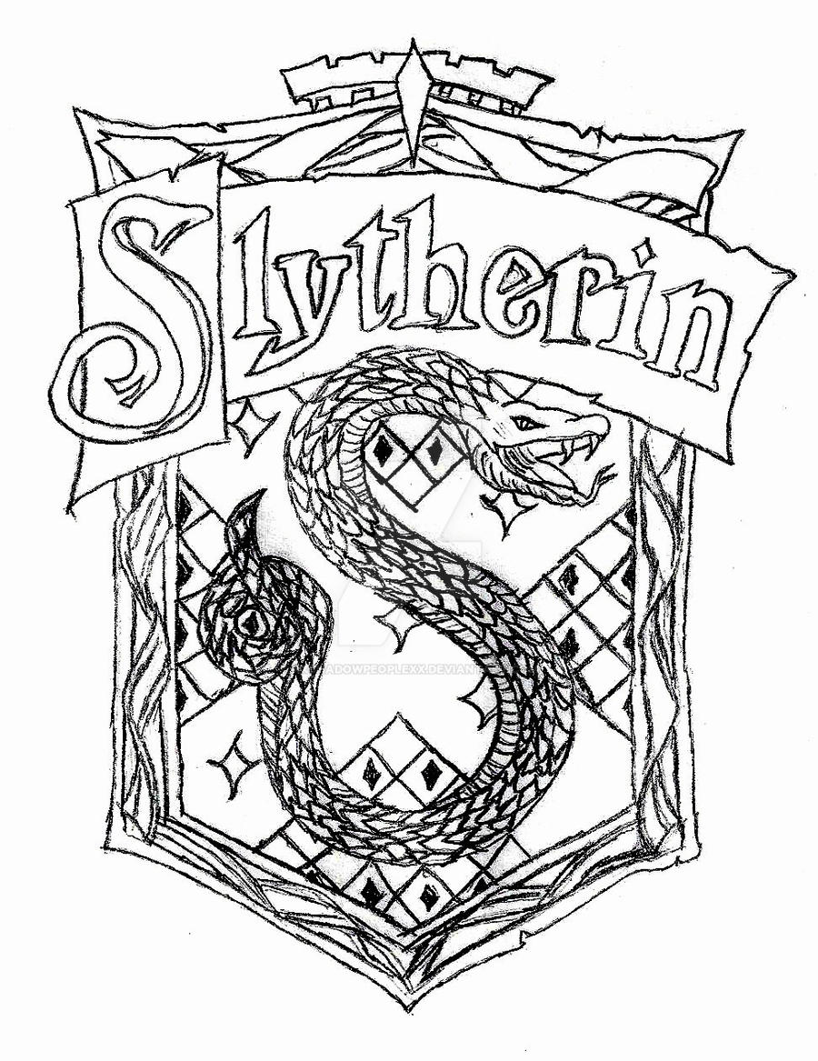 The slytherin crest by xxshadowpeoplexx on deviantart Hufflepuff Crest Coloring Page Harry Potter House Crests Printables Dumbledore Coloring Page