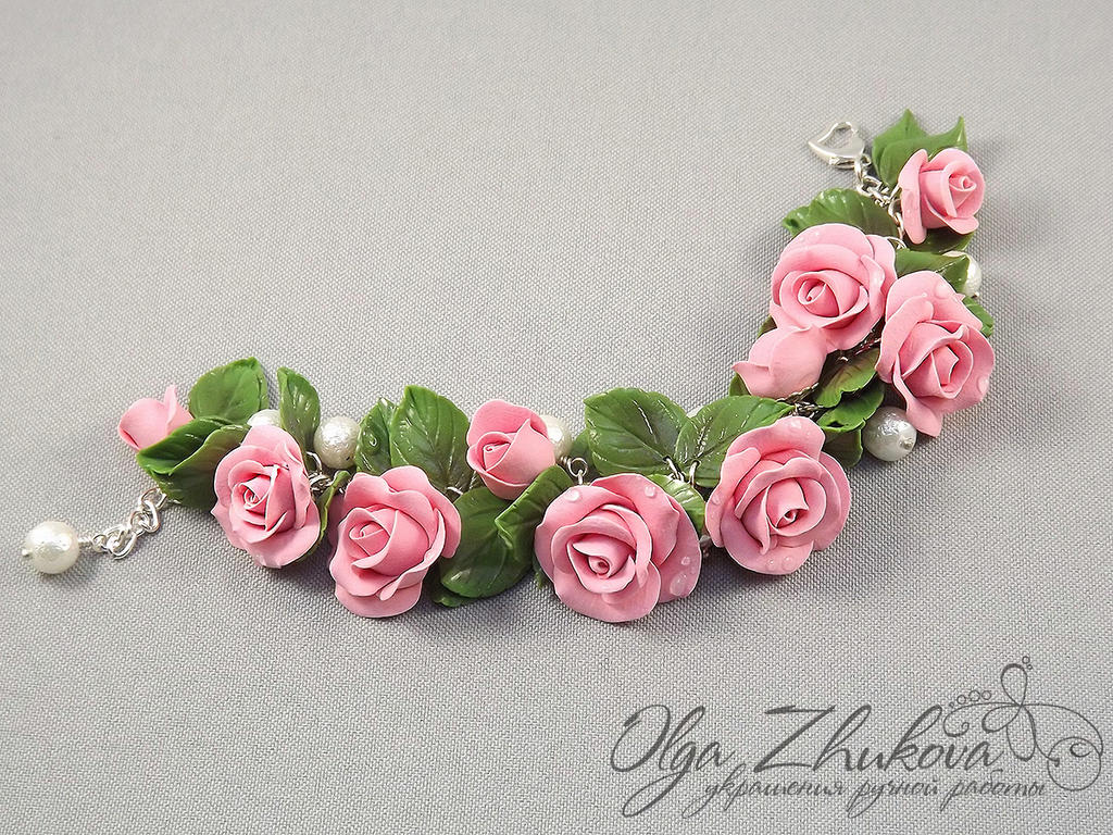 Bracelet With Pink Roses By Polyflowers On Deviantart