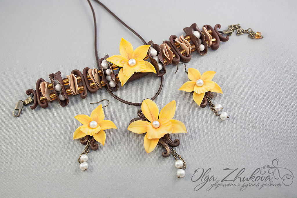 jewelry set with vanilla orchid by polyflowers