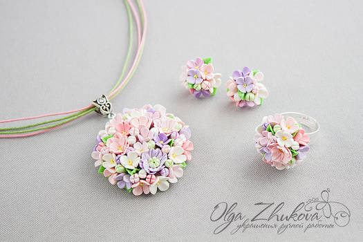 Set with flowers from polymer clay