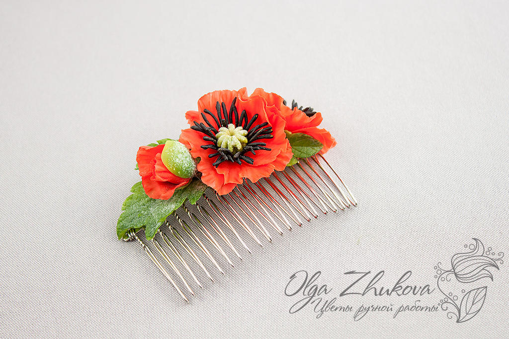 Comb hair with poppies by polyflowers on DeviantArt