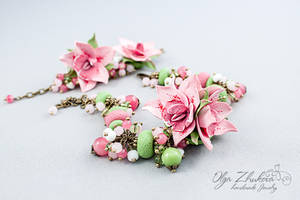 Set of jewelery with orchids from polymer clay by polyflowers