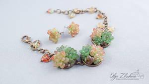 Set of jewelery of polymer clay by polyflowers