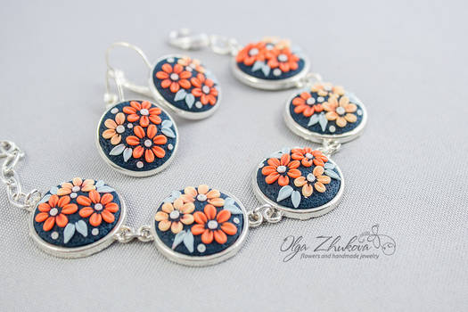 Set of jewelery of polymer clay