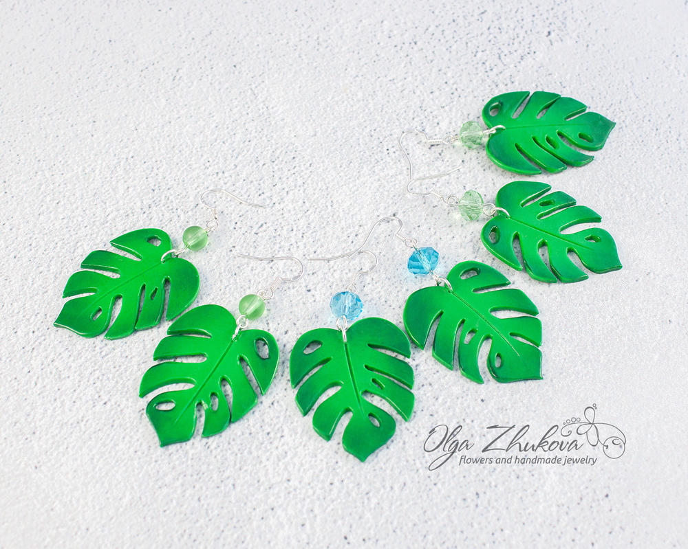 Monstera earrings polymer clay by polyflowers