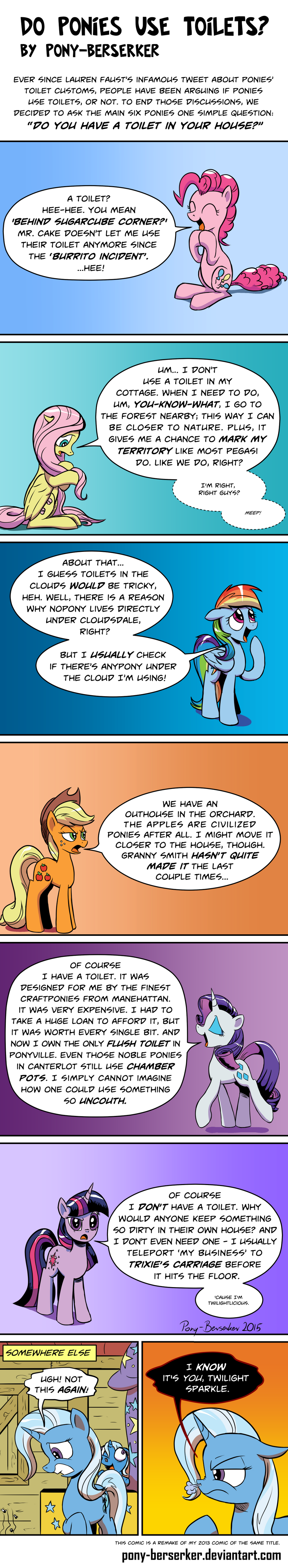 Do Ponies Use Toilets? (remake) by Pony-Berserker
