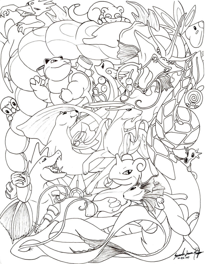 Water pokemon line by therainedrop on deviantart for Water pokemon coloring pages