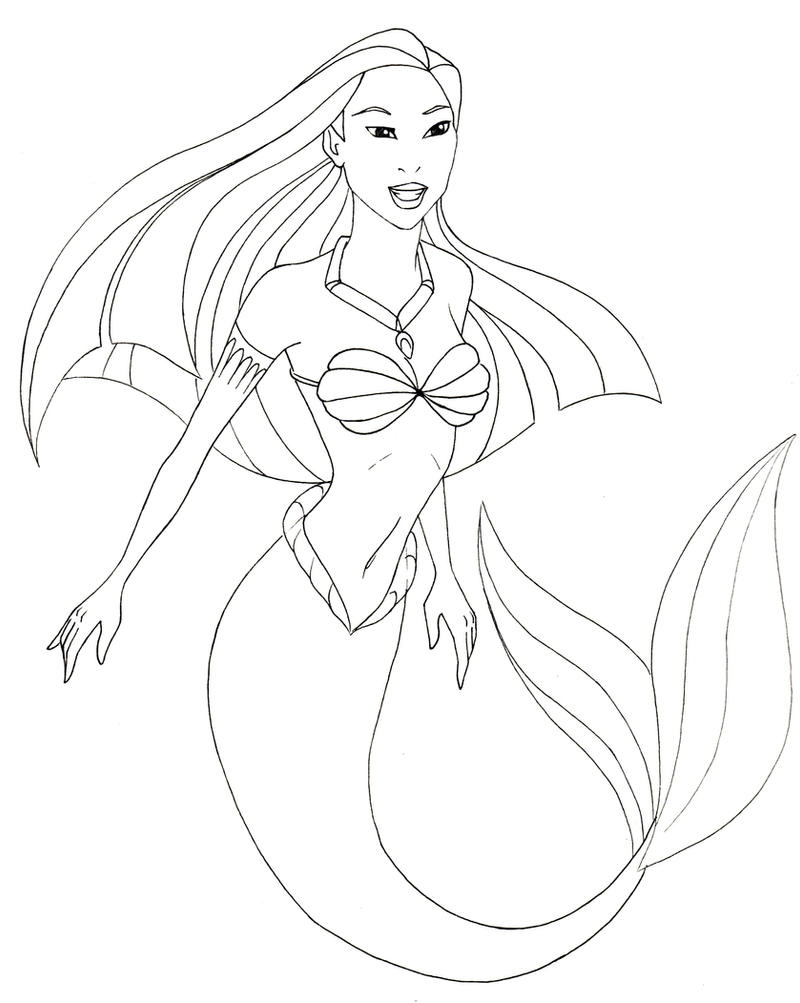 Line Drawing Mermaid : Pocahontas mermaid line attemp by therainedrop on deviantart
