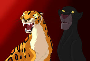 Sabor and Bagheera by TheRaineDrop