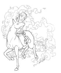 Riding Rapidash by TheRaineDrop