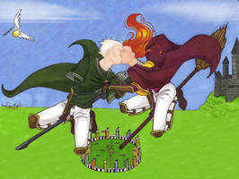 Quidditch Kiss -colour- by TheRaineDrop