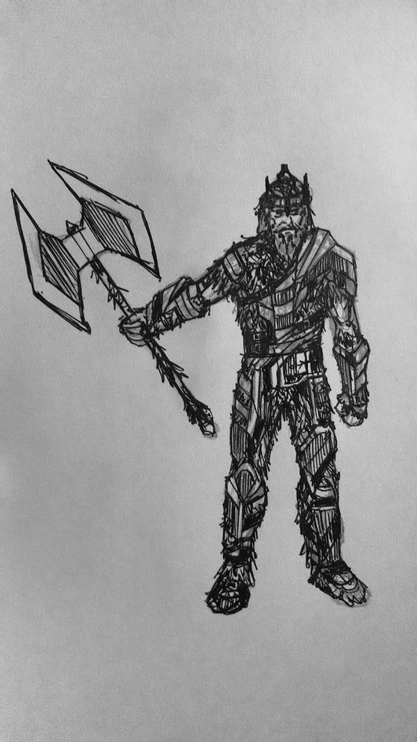 Warrior Sketch by DevanAmesArt
