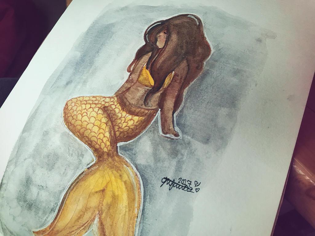 Watercolor Mermaid   by lolleepoptarts