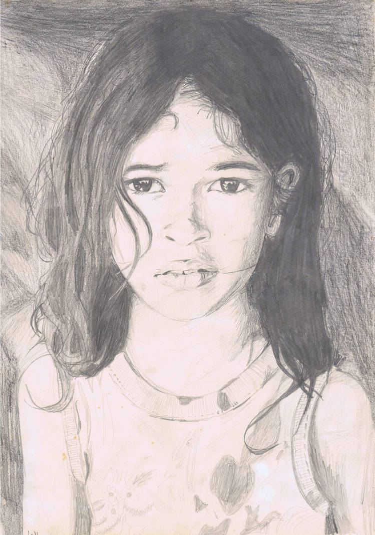 Sin Tierra girl, drawing of photo by S. Salgado by coltra
