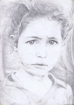 Sin Tierra girl, drawing of photo by S. Salgado
