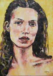 Portrait with yellow background (photo c)