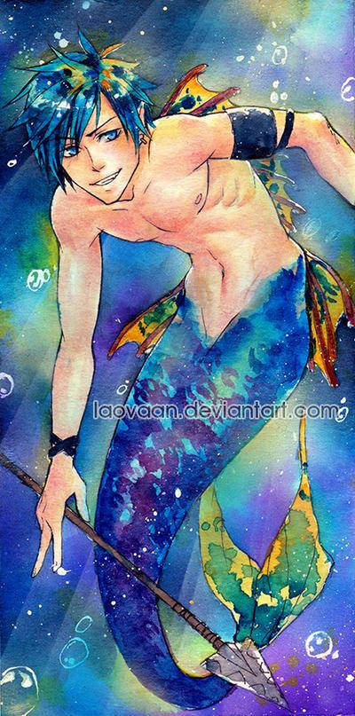 Merman in water(color) by Laovaan