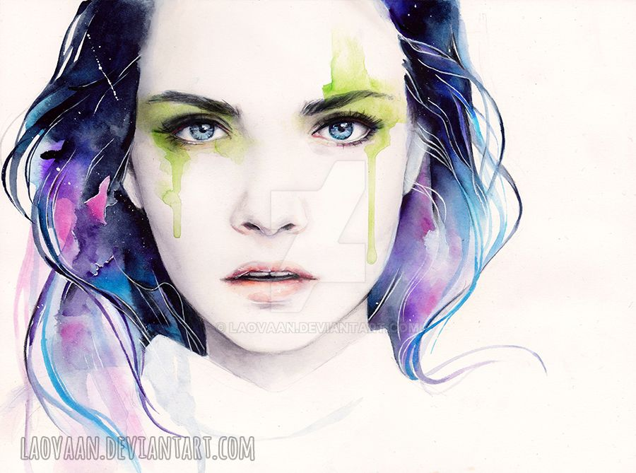 Watercolor Portrait - Cara Delevingne by Laovaan on DeviantArt