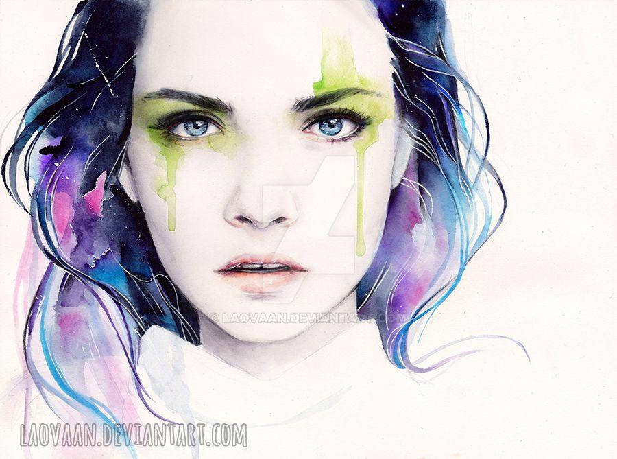 watercolor portrait cara delevingne by laovaan on deviantart
