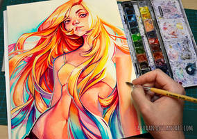 summer by loish in Watercolor + VIDEO by Laovaan