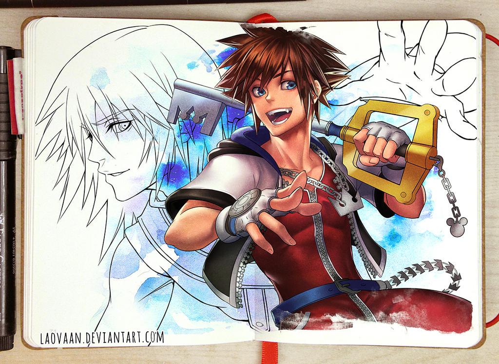 Sora and Riku - WIP by Laovaan