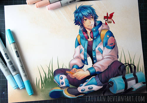 Aoba Playing Gameboy - Copic Version