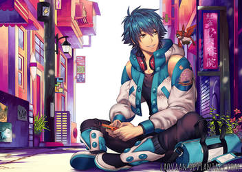 Aoba Playing Gameboy - Digital Version by Laovaan